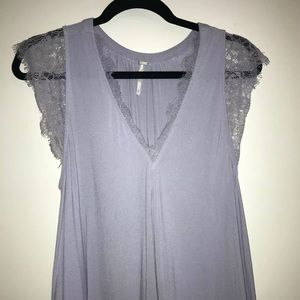 Free People Lavender Lace V Neck Tank